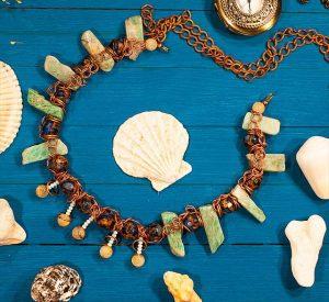 Ожерелье Амазонит, Волосатик (волосы Вероники), Варисцит