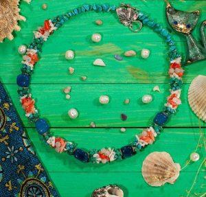 Ожерелье голубой Агат, Коралл, розовый Кварц, Малахит, Бирюза
