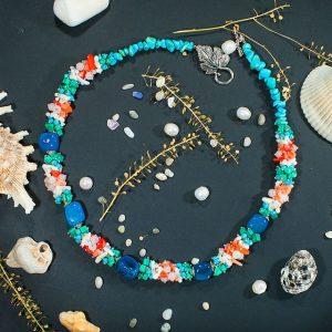 Ожерелье голубой Агат, Коралл, розовый Кварц, Малахит, Бирюза 2