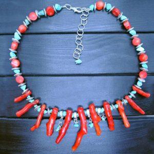 Ожерелье из Коралла и Бирюзы
