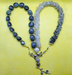 Ожерелье из Лабрадора и Кварца Волосатик