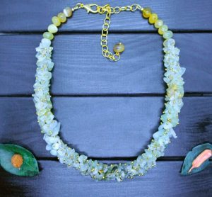 Ожерелье зеленый Гранат (гроссуляр) и Оникс